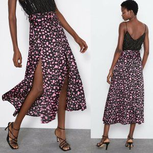 Zara Midi Flowing Skirt w/ Side Slips